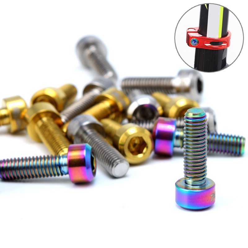M5 16mm Titanium Stem Bolts Bike Fixed Stem Bolts Headset Screws for Mountain Bike Front and Rear Derailleurs 6Pcs Bicycle Stem Bolts