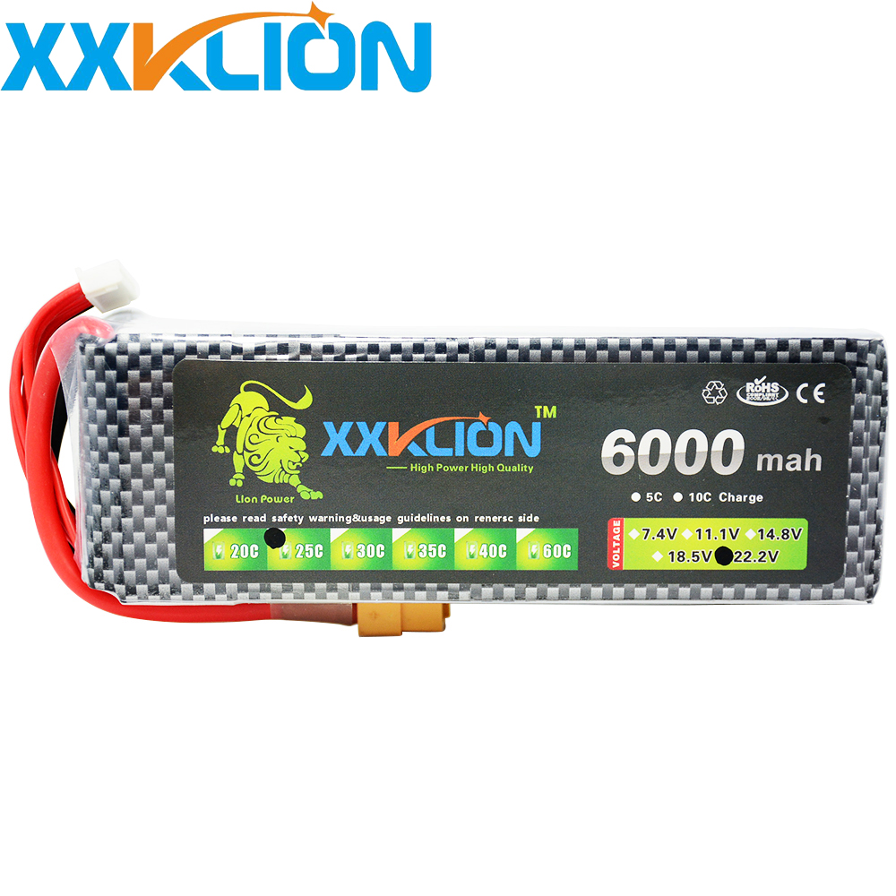 Hot Sale XXKLION  6S 22.2V 6000MAH 25C Rechargeable  for RC car RC boat  RC Lipo Drone Battery Pack FPV Quadcopter Free Shipping gdszhs rechargeable 3s lipo battery 11 1v 2200mah 25c 30c for fpv rc helicopter car boat drone quadcopter href