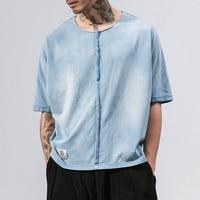 Retro Vintage t Shirt Men Rock Swag Japan t Shirts Men High Street Wear Mens Denim t Shirts Korean Style Stylish Tee Shirt Homme