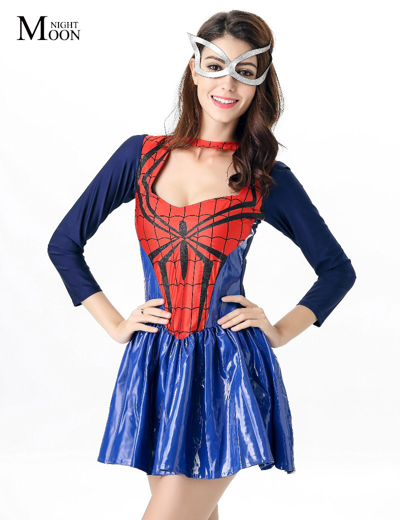 MOONIGHT Adult Woman Perfomance Dress Female Spiderman Cosplay Costumes Halloween Costumes Spider Woman Costume
