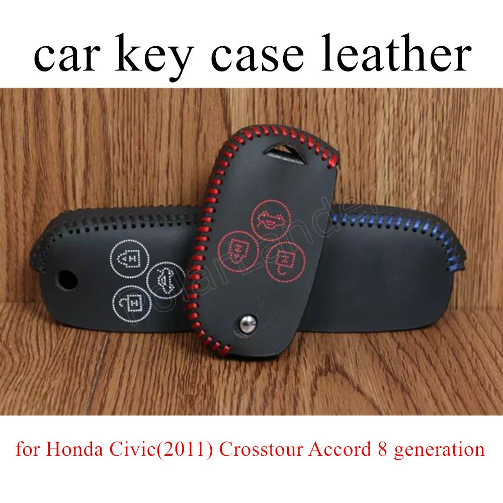 Only Red best price sale Car key case Hand sewing cover DIY Genuine leather for Honda Civic(2011) Crosstour Accord 8 generation