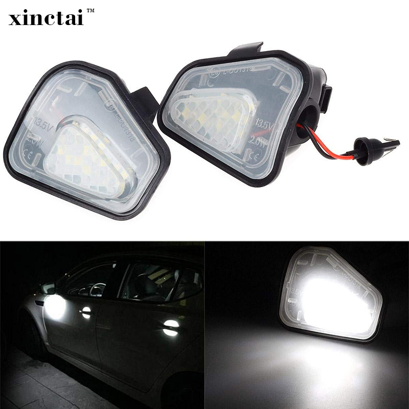 2Pcs LED Side Under Mirror Puddle Light Lamp For Vw Volkswagen CC 12-14 EOS Passat B7 wisengear led turn signal corner light lamp door rearview mirror cover cap for volkswagen vw beetle cc passat b7 jetta mk6 eos