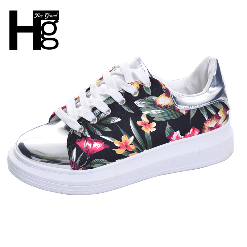 HEE GRAND 2017 New Fashion Floral Women Shoes Shining Height Increasing Patchwork Shoe Lace-up Canvas Shoes Spring,Autumn XWF309 hee grand fashion height increasing women shoes zip white black women casual pumps wedges shoes drop shipping xwc471