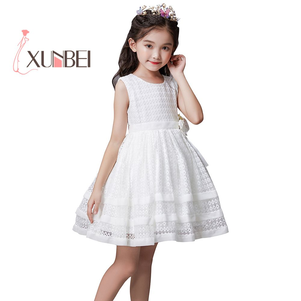 Beauty Princess Above Knee   Flower     Girl     Dresses   2019 Lace Pageant   Dresses   Kids   Dresses   For Party   Girls   First Communion   Dresses