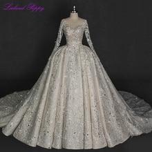Роскошные бальные кружевные свадебные платья 2020, v образный вырез, сверкающие кристаллы, вышитые бисером Длинные рукава Свадебные платья с глубоким вырезом на спине, соборный поезд