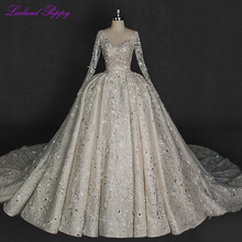 Vestido de baile de luxo vestidos de casamento de renda 2020 v neck sparkly cristal frisado mangas compridas sem costas vestidos de noiva catedral trem