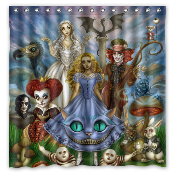 Novelty Bathroom ProductsAlice In Wonderland Printed Waterproof Polyester Shower Curtain Bath 180X180CM Curtains From Home Garden On