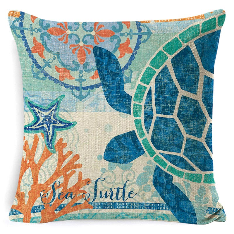 Sea Theme Cushion Cover Beach Pillow Covers Cotton Linen Nautical Throw Pillowcases Sea Theme Coastal Throw Pillowcase 45 45cm in Cushion Cover from Home Garden
