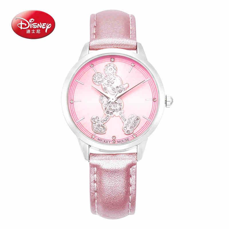 100% Disney Casual Women Waterproof Quartz Watch Luxury Night Sky pink Dial Rose Gold Plated 4 Color Leather Watchband Wristwatc зенитный прожектор night sun sf011 sky rose купить