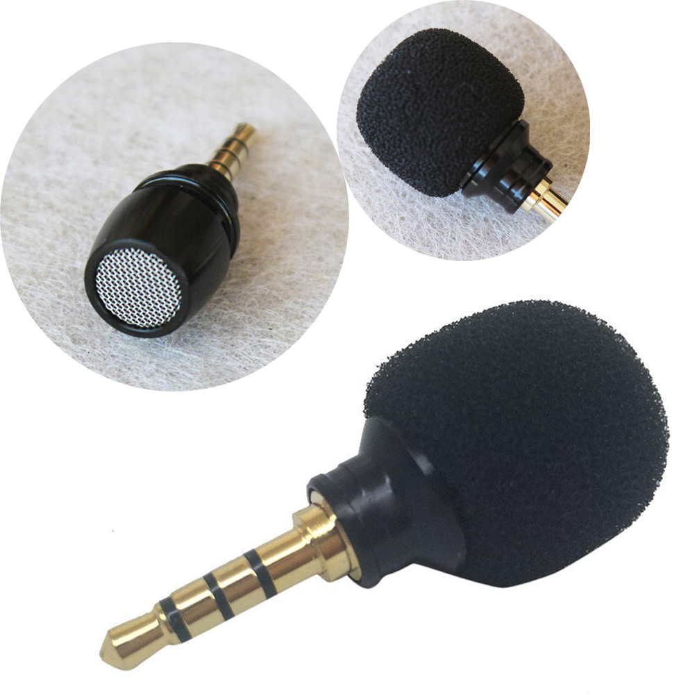 Portable Smartphone Mic Microphone For Mobile Phone Smartpads 3.5mm Mini Black Stereo Microphones For Singing Recording