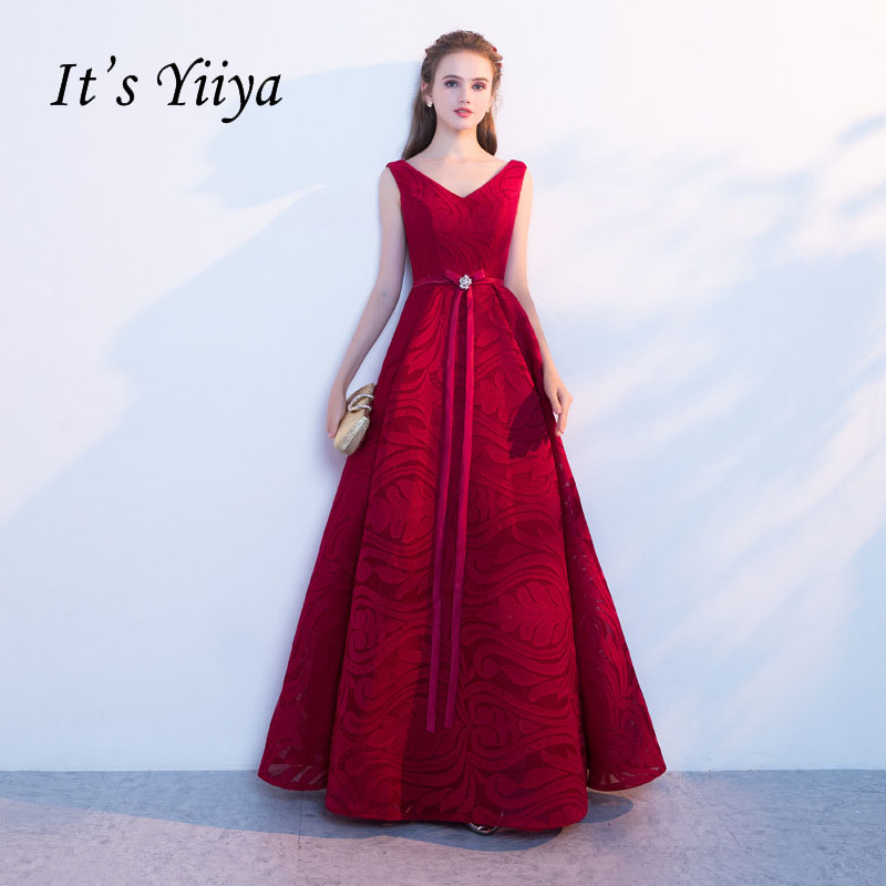 It's YiiYa Red Sleeveless V-Neck Lace Up Bow   Evening     Dresses   Flowers Pattern Elegant Embroidery   Evening   Party   Evening   Gowns X227