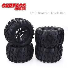 все цены на 4Pcs RC Rubber Sponge Tires Tyre Rim Wheel For RC 1/10 1/8 Models RC Car HSP Off Road JLB Monster Truck 94111 94108 94188 онлайн