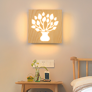 New LED wood wall lamp decoration aisle children tenant hall character bedroom bedside lamp MZ9
