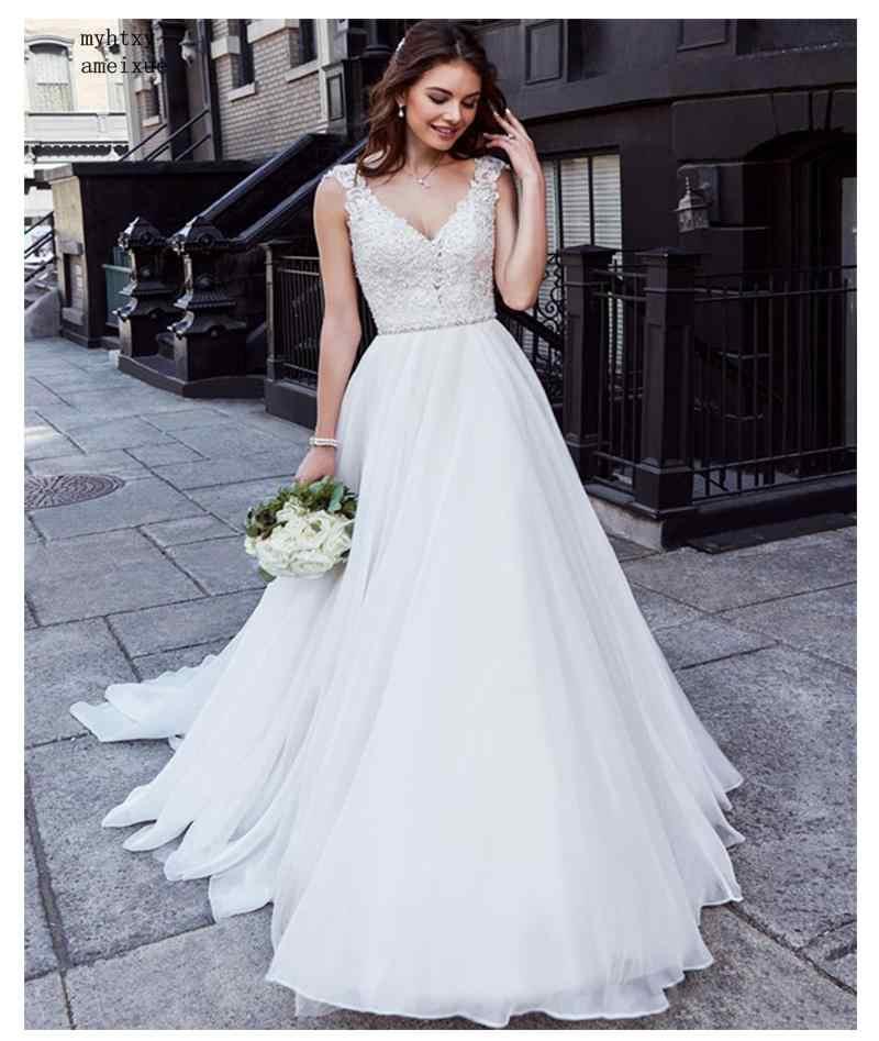 Vestido de novia barato Sexy encaje Top Boho espalda descubierta marfil playa vestido de novia apliques cuello en V princesa vestido de novia envío gratis