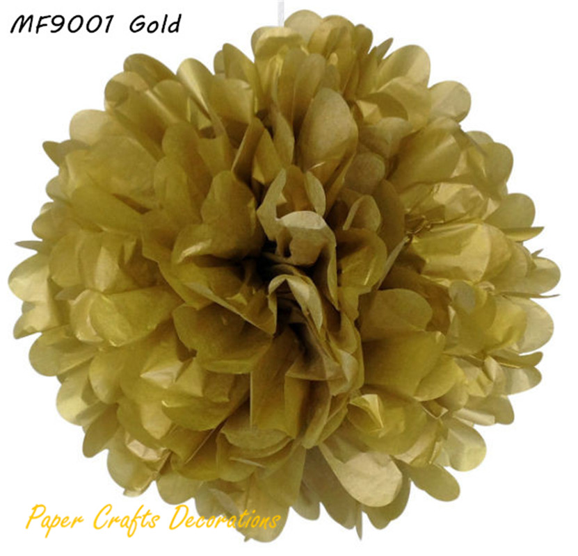 20pcs/lot 15cm 6inch Gold Round Tissue Paper Pom Poms Hanging Wedding Party Decoration 34 Colors Available Free Shipping