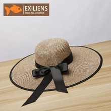 [EXILIENS] 2017 New Lady Fashion Summer Brand Women's Sun Hats Woman Caps Bow-knot Straw Solid Shade Sunscreen Girl Casual Hats