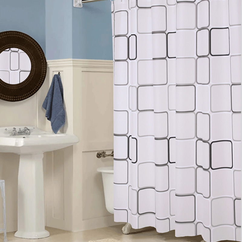 PEVA White Square Thick Shower Curtain With Hooks Waterproof Mildew Resistant Bath Curtain Durable High Quality