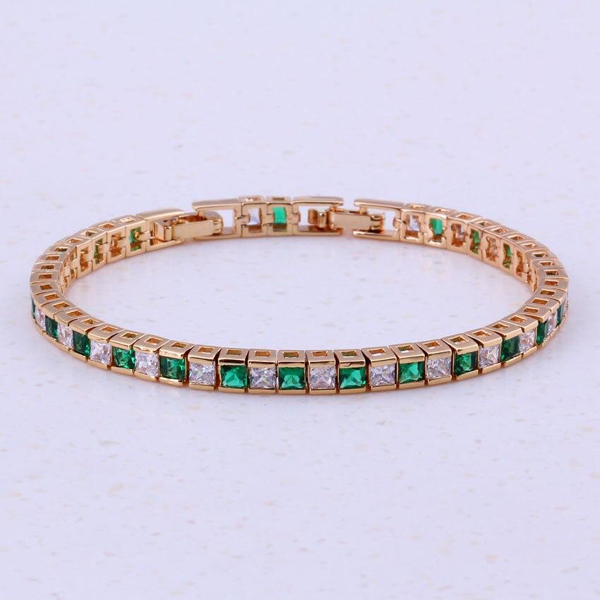 Замечательный зеленый кристалл & Белый кубический цирконий, ювелирные желтого золота Цвет модные Браслеты с подвесками для Для женщин jewelry ...