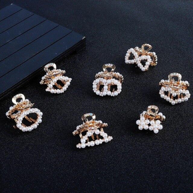 1 pieza de lujo de perlas de diamantes de imitación de Metal horquillas geométricas pinzas de pelo de cangrejo pinza de pelo de mariposa para accesorios para chicas