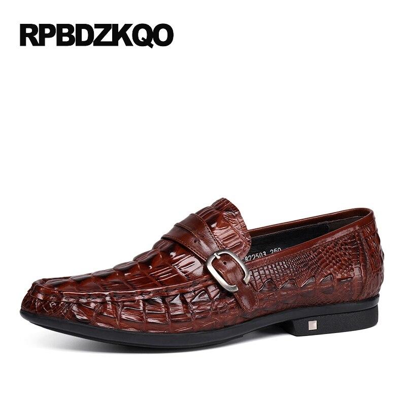 Men Alligator print Leisure Leather Driving Shoes Slip On Soft Loafer Moccasins