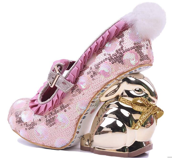 New 2018 pink glitter embellished high heel shoes gold rabbit strange heels ankle strap woman shoes sweet dress heels new arrivals pale pink shiny leather kawaii rabbit ankle strap sweet lolita shoes 5 5cm heel pumps