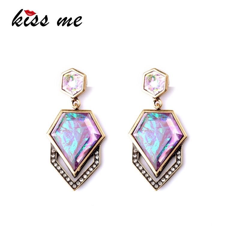 Dazzle Color Geometric Imitation Gems Brand Designer Women's Trendy Drop Earrings Factory Wholesale