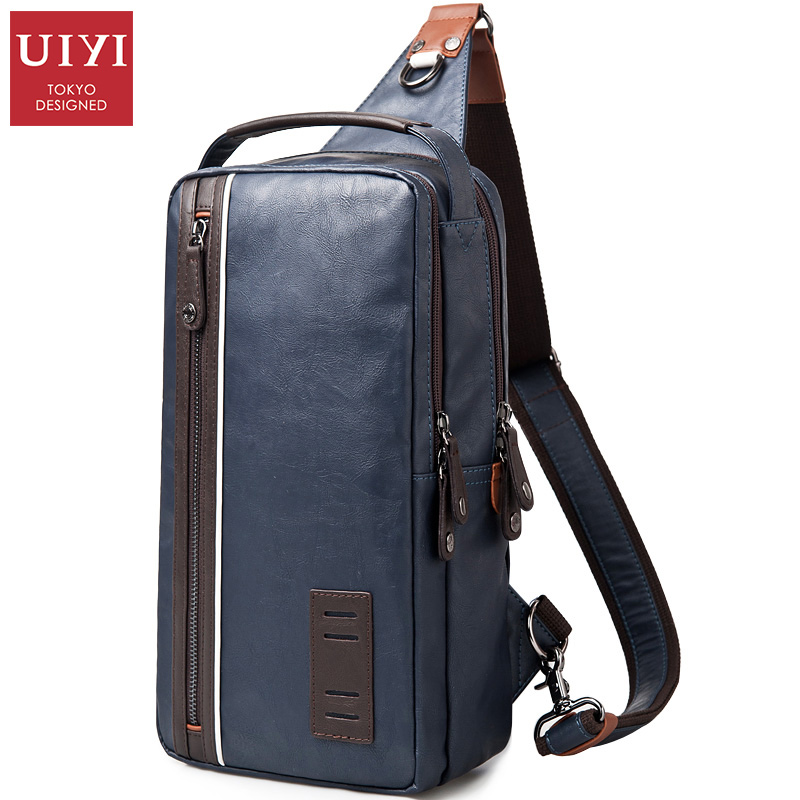 UIYI Men Casual Pu Leather Shoulder Bag Famous Designer Brands High Quality Male Chest Pack Men Travel Bags Messenger Bags uiyi male pvc casual shoulder bag black chest bag for men shoulder