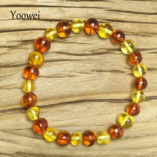 Yoowei 4 Colors Natural Amber Bracelet for Baby Adult Genuine Beads Original Irregular Amber Supplier Stretch Jewelry Wholesale