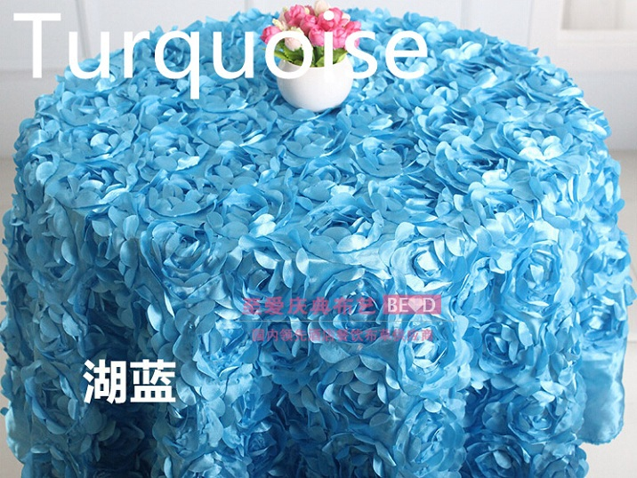 flower table cover,turquoise rosette embroider table cloth,for wedding,party,hotel and restaurant round table decoration