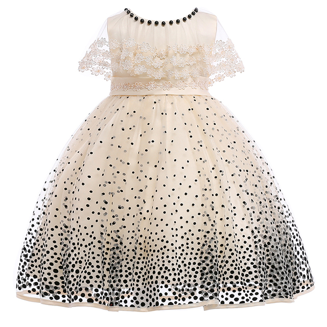 Retail 2019 New Style Children Girl Summer Dresses Kids Girl Wedding Party Dress Girls Black Dot Dress Clothes L5007