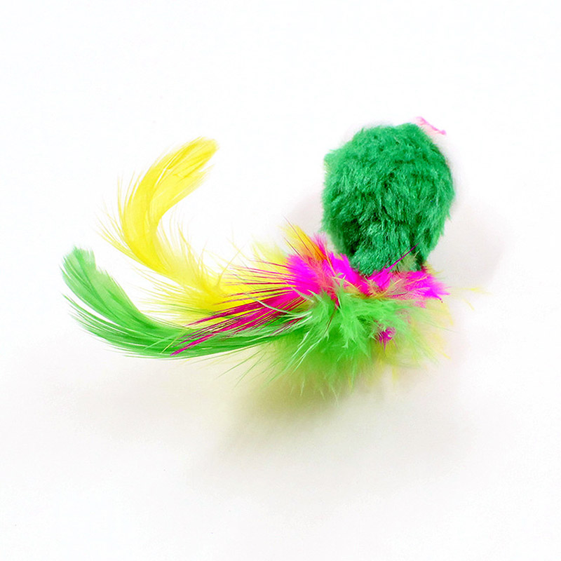 Sale 1PC Colorful Feather False Mouse Pet cat toys Random Color Mini Funny Mice Animal Playing Toys For Cats Kitten in Cat Toys from Home Garden