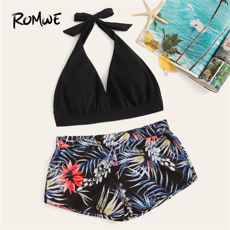 Romwe Sport Bikinis Set Halter Top With Tropical High Waist Swimsuit Women Summer Ruched Knot Beach Sexy 2 Piece Swimsuit
