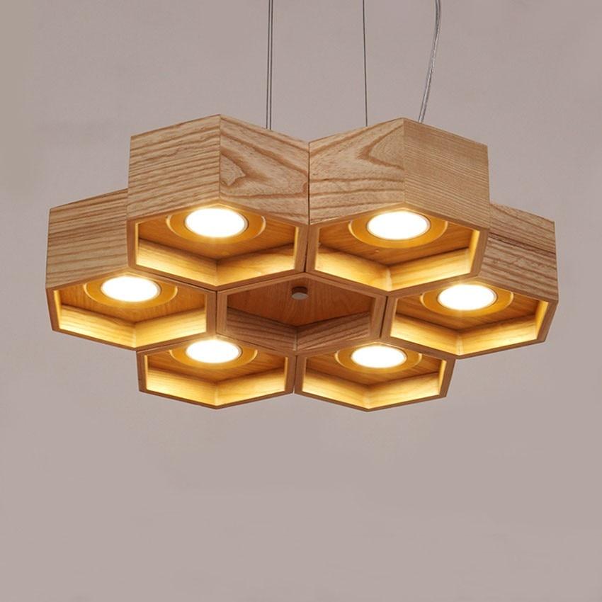 Honeycomb Pendant Light: Wooden Honeycomb Vintage Pendant Light Lamp 6 Kinds Modern