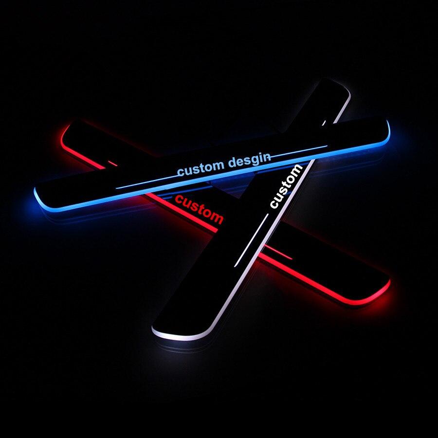 2 pcs cool!!! custom LED running Door Scuff Sill Plates Step Plate ... for logo light aircraft  103wja