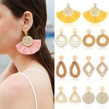 Bohemian fashion Tassel fan earrings for women straw hand-woven rattan drop dangle girls seaside summer jewelry