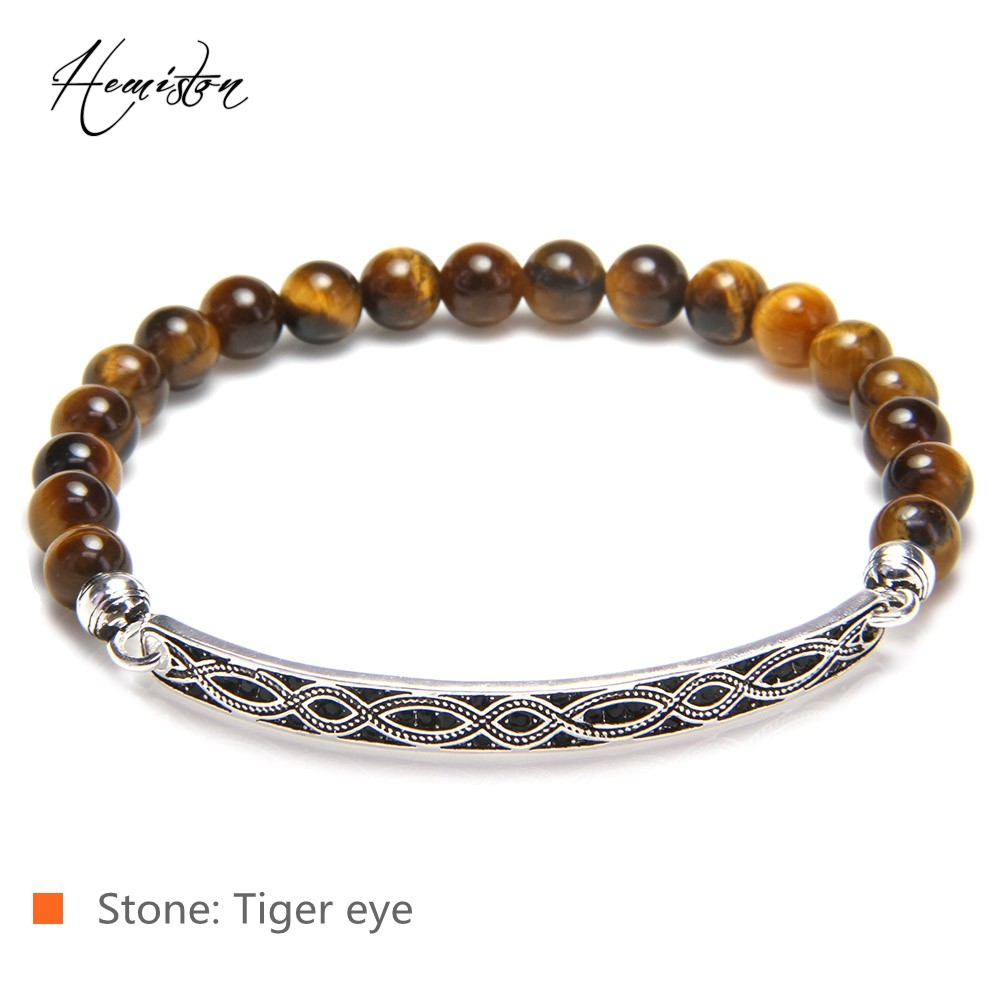 Thomas Tiger Eye, Simulated Malachite, Black Obsidian Bead Love Knot Bridge Bracelet, Jewelry Women Men TS B595