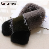 Glaforny 2018 New Women Real Fur Collars Patchwork Fashion Fur Wraps Genuine Fox Fur Scarves Silver Fox Collars Scarf Women