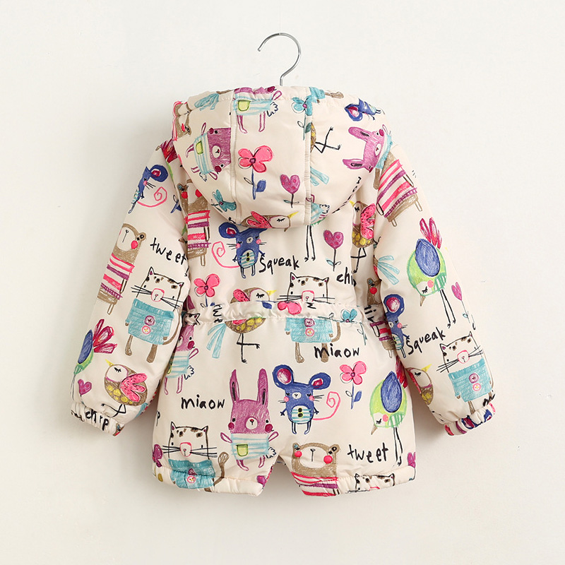 Image 2 - New Autumn Winter children jackets For Girls 1 7T Graffiti Parkas Hooded coats Baby Girls Warm Outerwear kids Clothing babyDown & Parkas   -