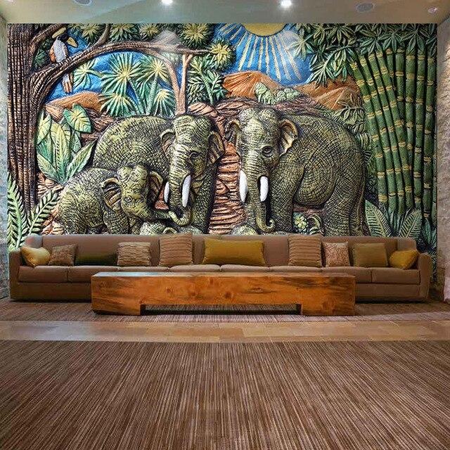 custom 3d mural 3d large mural southeast india style thai elephantcustom 3d mural 3d large mural southeast india style thai elephant theme restaurant hotel room wallpaper mural