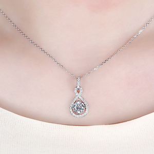 Image 5 - Transgems 14K White Gold 585 6.5MM 1 Carat F Color Hearts and Arrows Moissanite Halo Pendant Necklace for Women Wedding