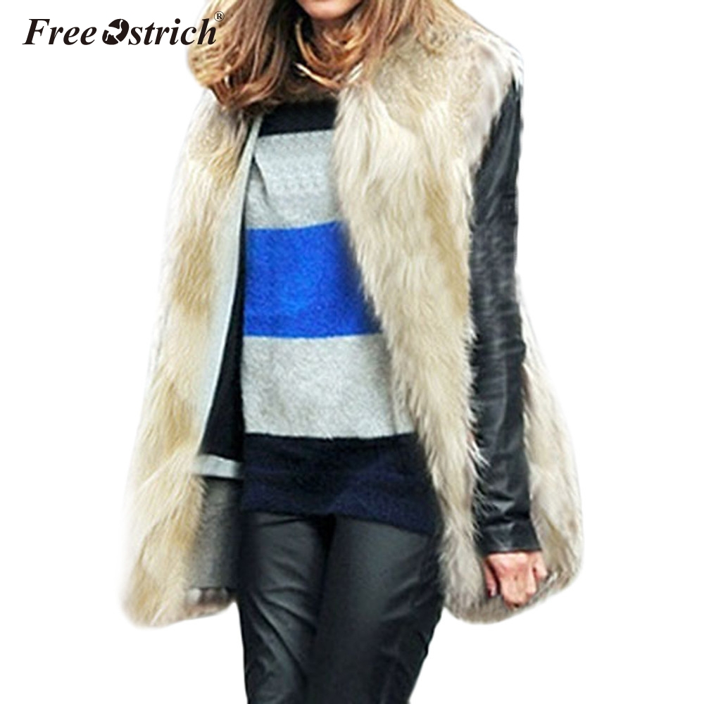 Free Ostrich Vest Women Plus Size Solid Open Stitch Faux Fur V Neck Chalecos Para Mujer Colete Feminino Kamizelka Damska N30