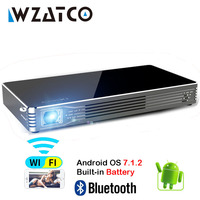 WZATCO Smart Projector C8S Android OS 7.1 WIFI full HD 1080P Mini DLP Home Theater Pocket Pico Proyector Beamer with Battery