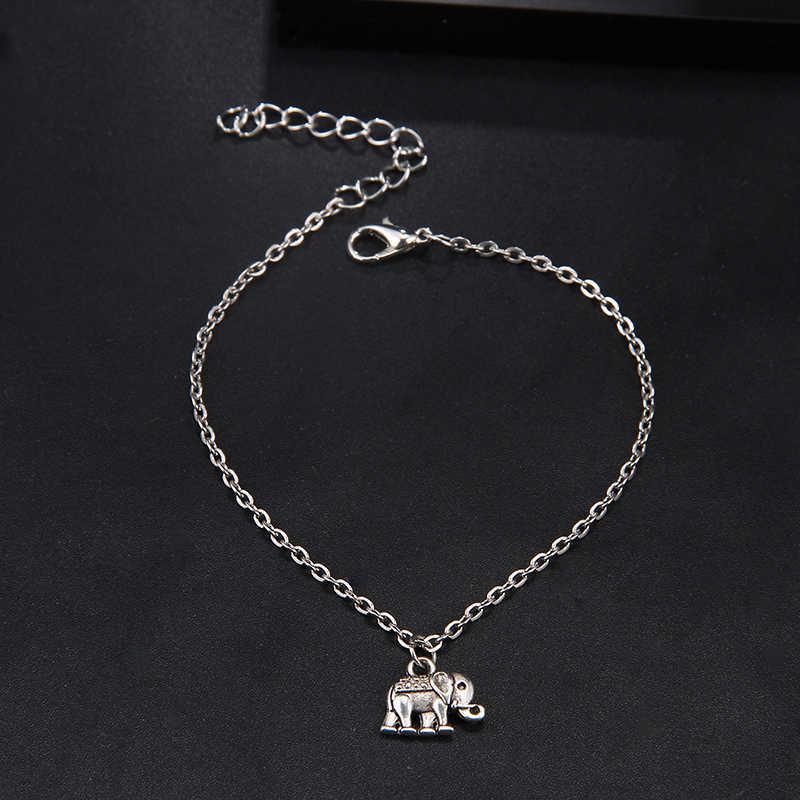 RscvonM 新シンプルなボヘミアンシルバーカラー女性ヴィンテージかわいい象のペンダントアンクレットブレスレット足の宝石類のギフト