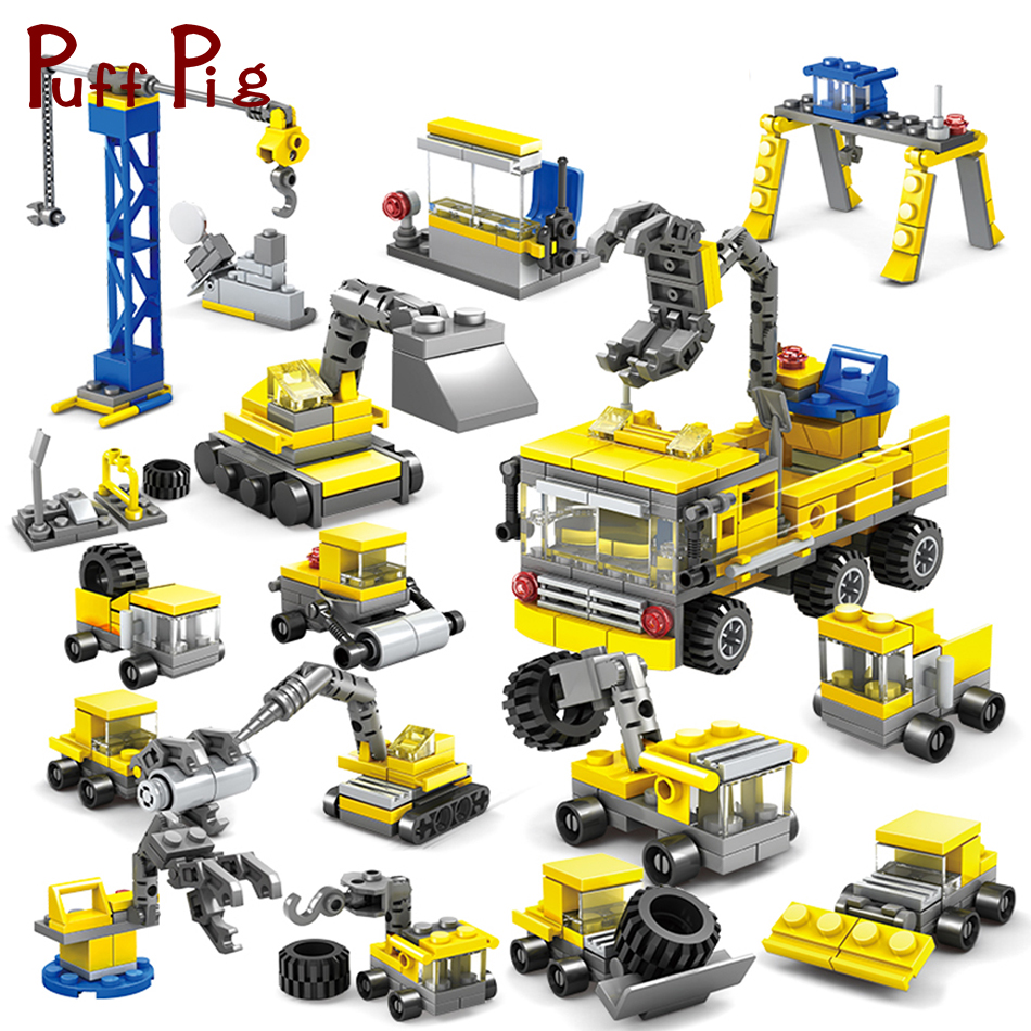 все цены на 318PCS 16 in 1 Engineering Excavator Forklift Building Blocks Compatible Legoed City Construction Bricks Toys For Children Boys онлайн