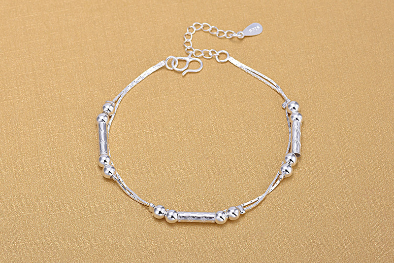TJP Top Quality 925 Silver Women Anklets Jewelry Latest Female Silver Balls Double Layer Anklets For Girl Lady Engagement Bijou in Anklets from Jewelry Accessories