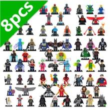 8 pçs/lote Conjunto Vingadores Marvel Super hero Figura X Homem-DC Batman Super hero Blocos de Construção de Brinquedos Modelo