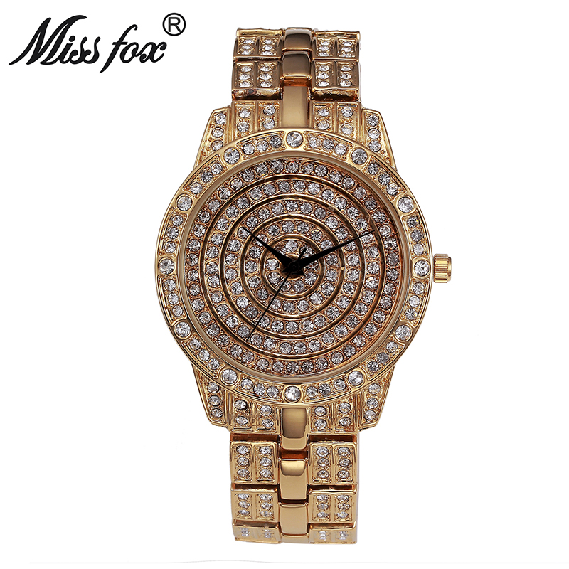 Miss Fox montre ronde femme Simple visage montre en argent femmes de luxe montre femmes célèbre marque choc résistance à l'eau montres en diamant - 3