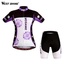 2016 WOSAWE Brand Women Cycling Clothing Gel Pads Quick Dry Windproof Profesional Road Mountain MTB Bike Cycling Jersey Set