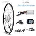 KUNRAY E набор для преобразования велосипеда 24 в 250 Вт переднее моторное колесо 24 20 16 дюймов электрический велосипед мотор-концентратор с KT LCD3 с...