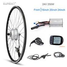 Комплект для переоборудования электровелосипеда KUNRAY, 24 В, 250 Вт, переднее моторное колесо, 24, 20, 16 дюймов, электродвигатель с шестеренкой, сту...